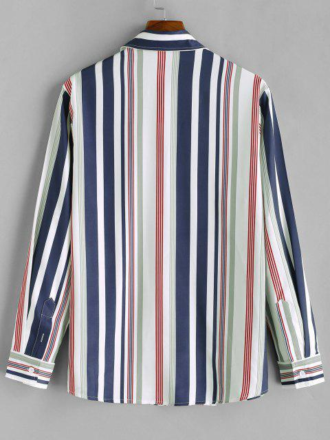 womens Vertical Striped Print Long Sleeve Casual Shirt - MIDNIGHT BLUE L Mobile