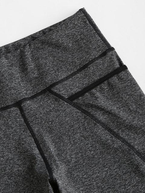 trendy High Rise Pocket Space Dye Biker Shorts - DARK GRAY S Mobile