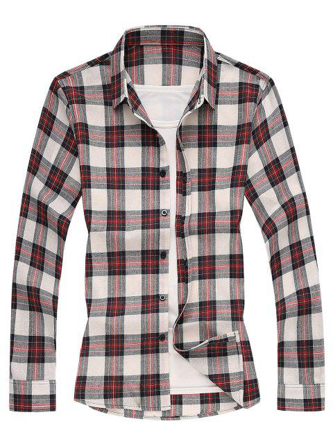 latest Plaid Long Sleeves Shirt - RED L Mobile