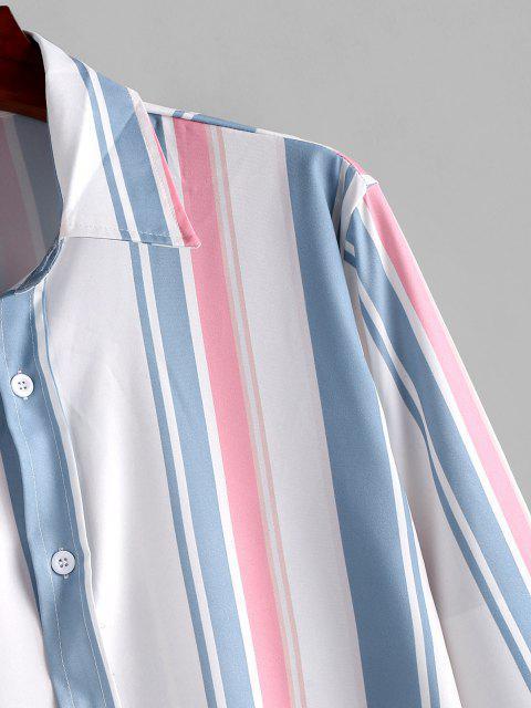 長袖ストライプカジュアルシャツ - ブルー恋 2XL Mobile