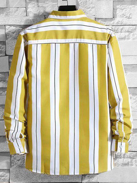 lady Stripes Color Blocking Casual Shirt - YELLOW XS Mobile