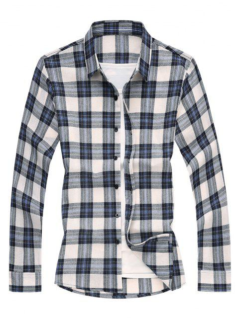 Camisa de Manga Larga a Cuadros - Azul 2XL Mobile