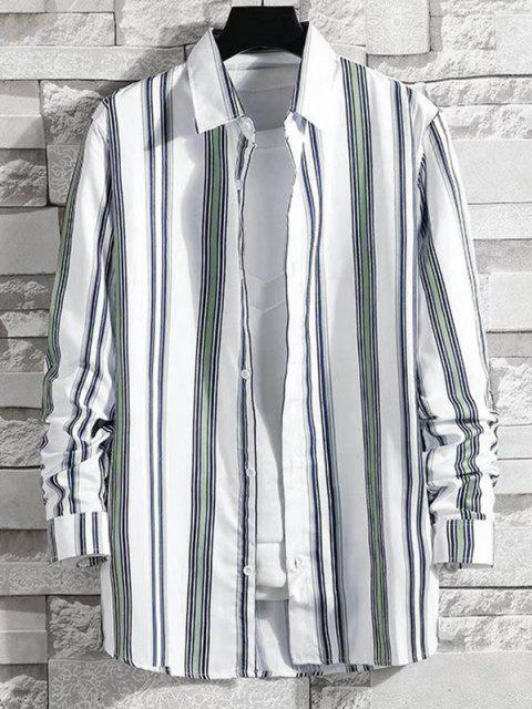 outfit Striped Pattern Long Sleeve Shirt - LIGHT GRAY XS Mobile