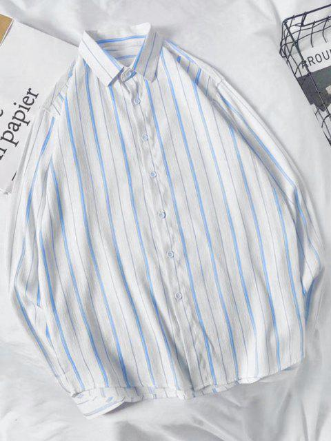 Camisa a Rayas Verticales - Azul claro S Mobile