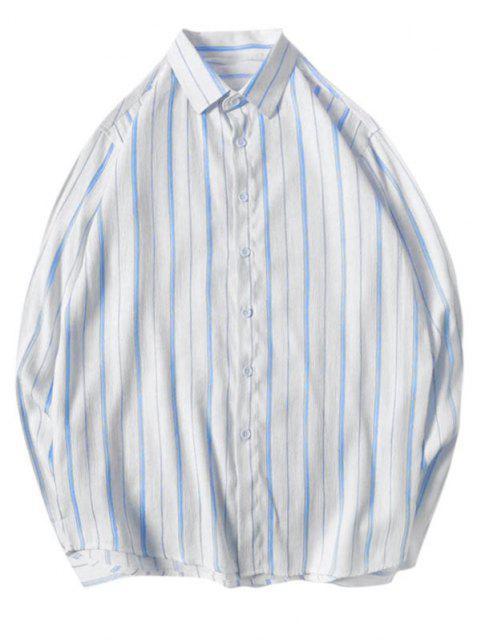ストライプ湾曲した裾シャツ - ライトブルー S Mobile