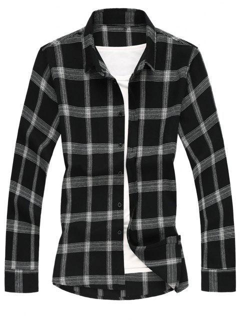 online Long Sleeves Two Tone Plaid Shirt - BLACK XL Mobile