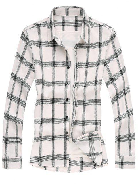 長袖二つのトーンチェック柄シャツ - 白 XL Mobile