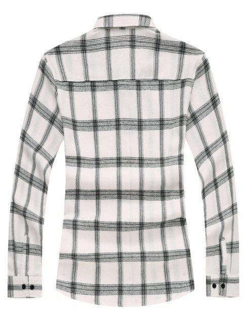 Chemise à Carreaux Bicolore à Manches Longues - Blanc XS Mobile