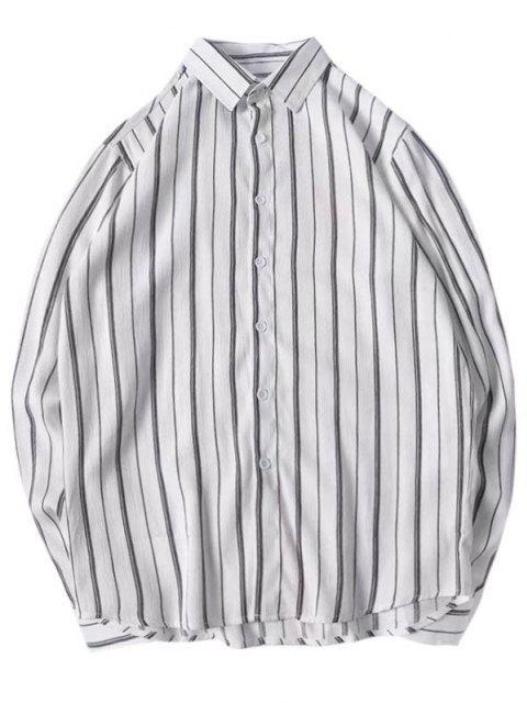 latest Stripes Curved Hem Shirt - LIGHT GRAY M Mobile