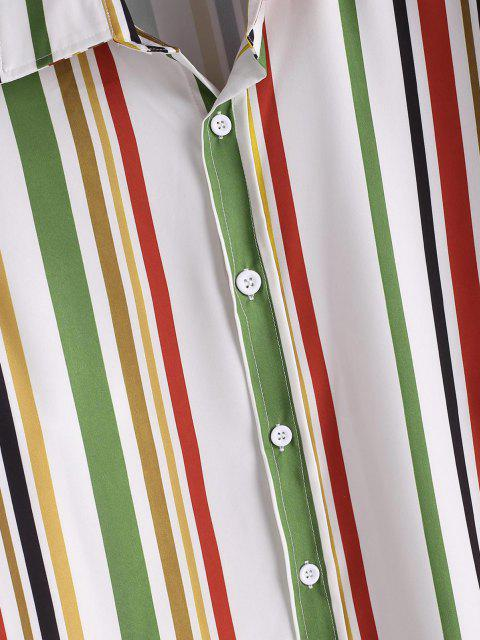 women Vertical Striped Print Button Up Casual Shirt - FERN GREEN M Mobile