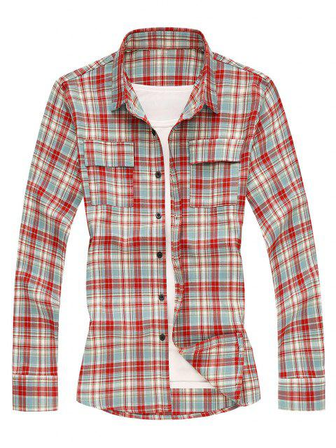 fancy Pockets Plaid Long Sleeves Shirt - RED M Mobile