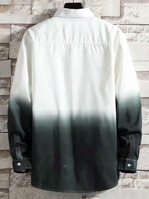 fashion Ombre Print Button Down Shirt - WHITE L Mobile