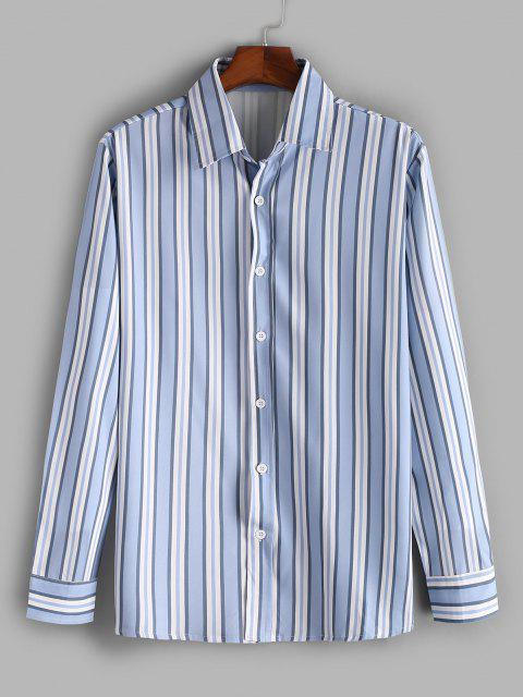 affordable Vertical Striped Print Casual Shirt - SLATE BLUE L Mobile