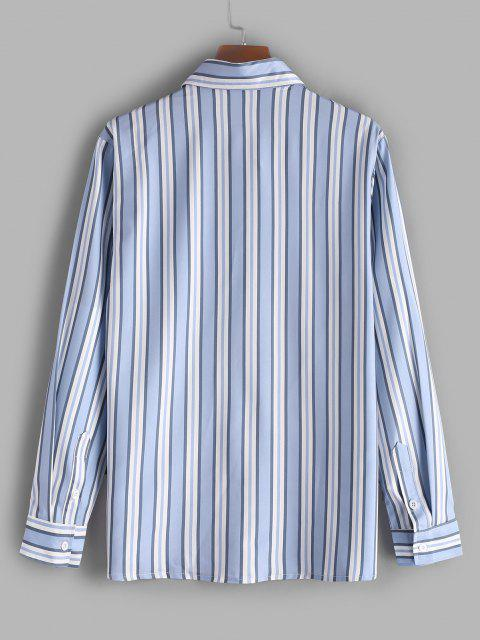 womens Vertical Striped Print Casual Shirt - SLATE BLUE S Mobile