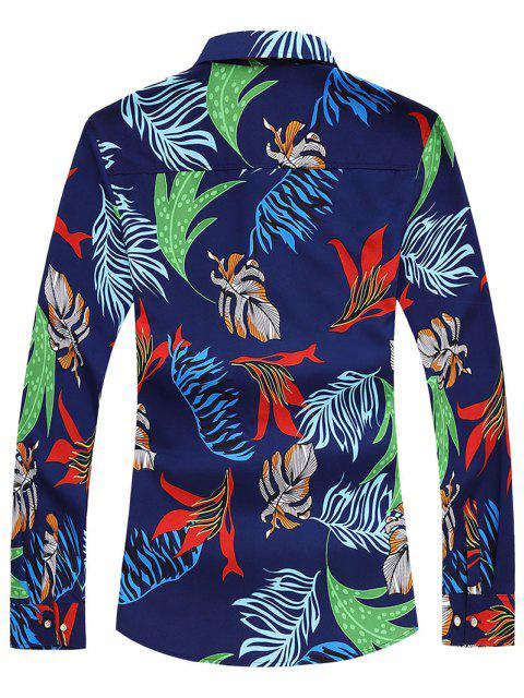 Camisa Manga Larga Estampado Hojas Tropicales - Cadetblue M Mobile