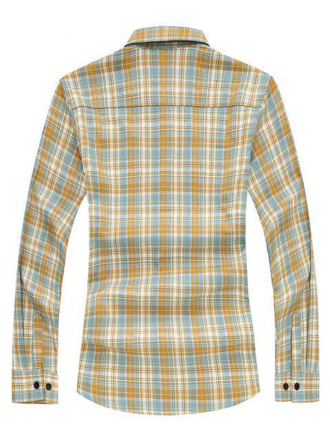 Camisa de Manga Larga a Cuadros y Bolsillos - Naranja M Mobile