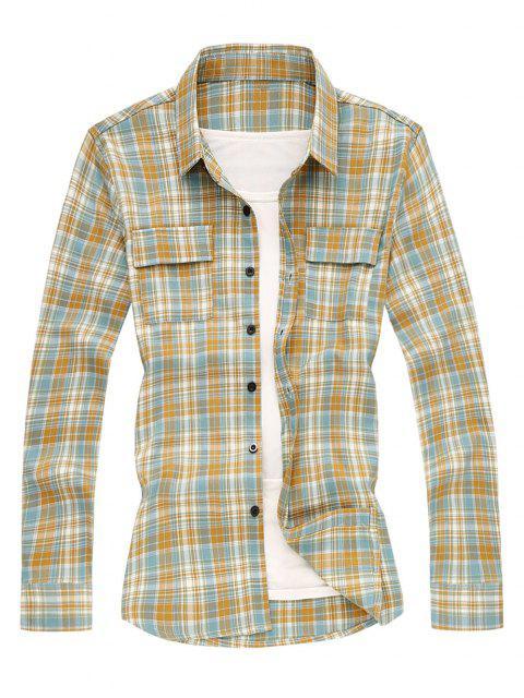 Camisa de Manga Larga a Cuadros y Bolsillos - Naranja S Mobile