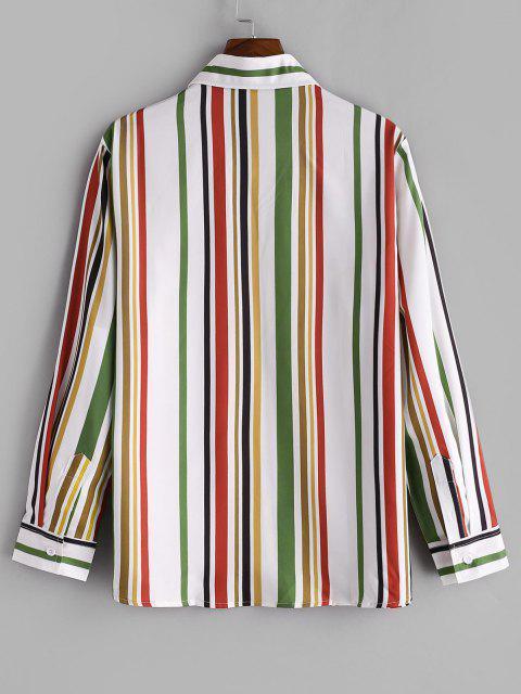 hot Vertical Striped Print Button Up Casual Shirt - FERN GREEN 2XL Mobile