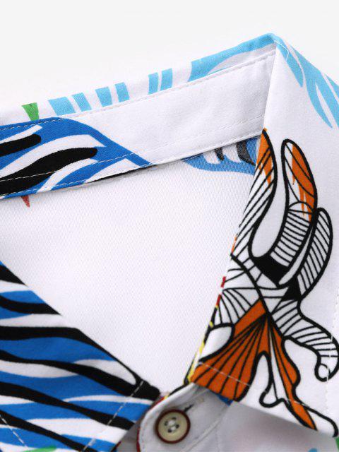 Camisa Manga Larga Estampado Hojas Tropicales - Blanco XL Mobile