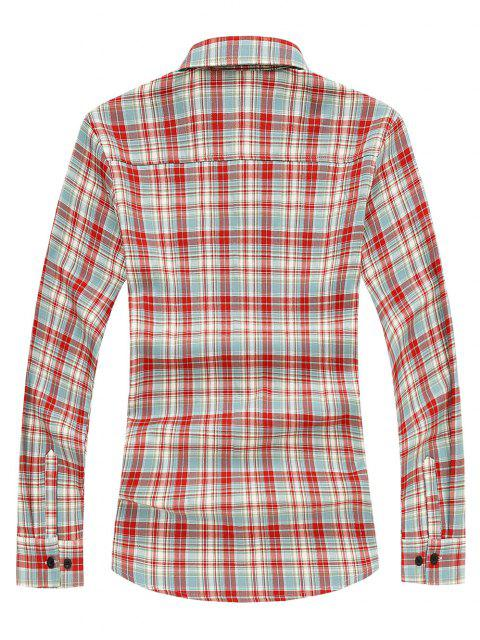 Camisa de Manga Larga a Cuadros y Bolsillos - Rojo L Mobile