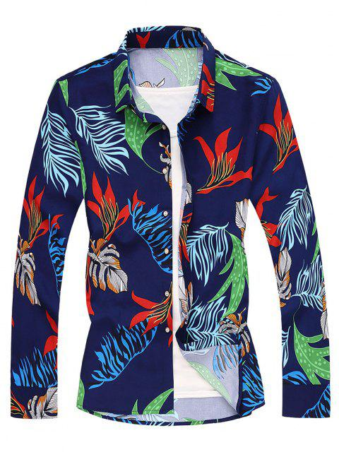 Tropical Leaf Long Sleeves Shirt - طالبا الأزرق 2XL Mobile