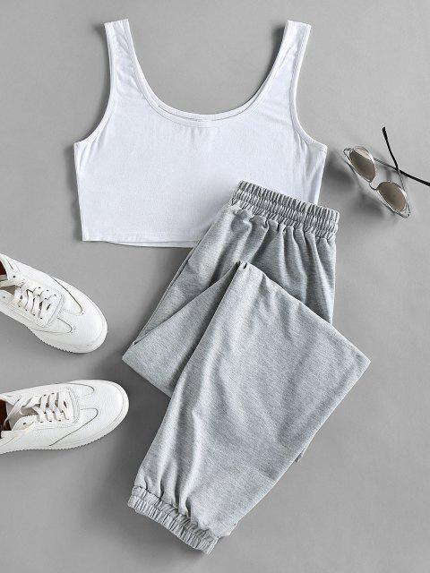 outfits ZAFUL Crop Top and Drawstring Jogger Pants Set - LIGHT GRAY XL Mobile