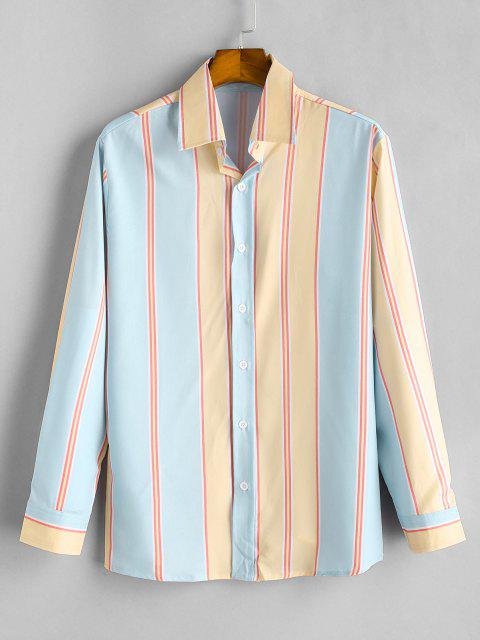 women Button Up Contrast Stripe Print Shirt - GOLDENROD L Mobile