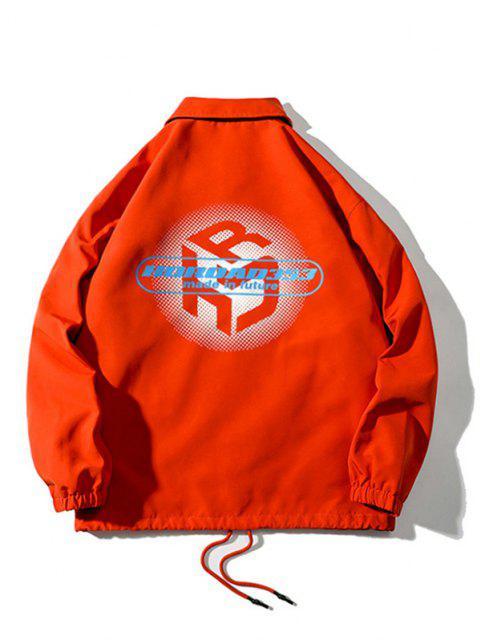 Veste Boutonnée Lettre Graphique Imprimée à Cordon - Orange Foncé XL Mobile