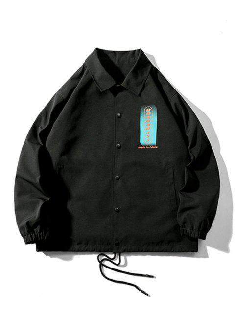 Veste Boutonnée Lettre Graphique Imprimée à Cordon - Noir 2XL Mobile