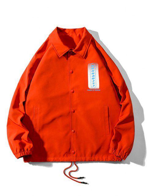 Veste Boutonnée Lettre Graphique Imprimée à Cordon - Orange Foncé 2XL Mobile