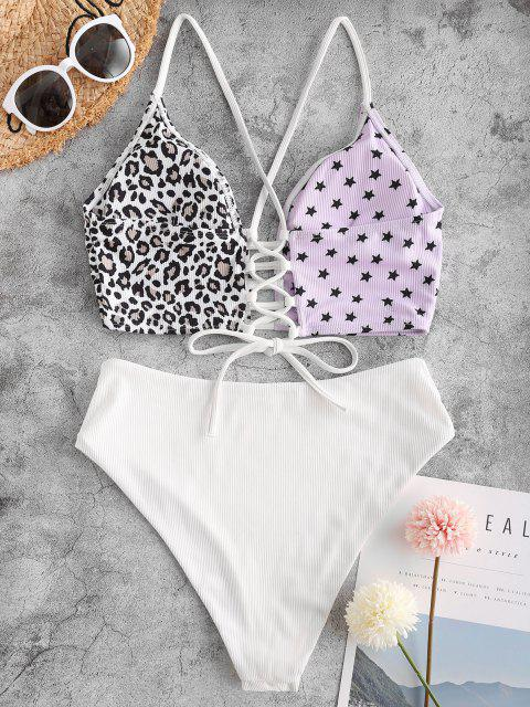 latest ZAFUL Leopard Star Lace-up Ribbed High Waisted Tankini Swimwear - LIGHT PURPLE M Mobile