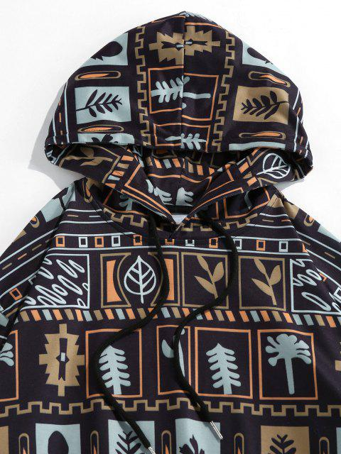 outfits ZAFUL Plant Leaf Graphic Print Hoodie - BLACK M Mobile