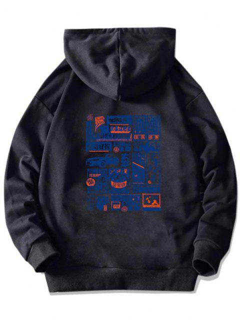 sale Chinoiserie Graphic Print Kangaroo Pocket Hoodie - BLACK XS Mobile