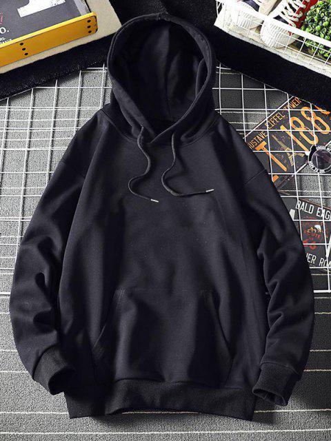 fashion Chinoiserie Graphic Print Kangaroo Pocket Hoodie - BLACK L Mobile