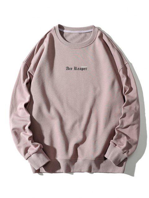 Buchstabe Schmetterlingdruck Rippen Strick Trimm Sweatshirt - Rosa Rose 3XL Mobile