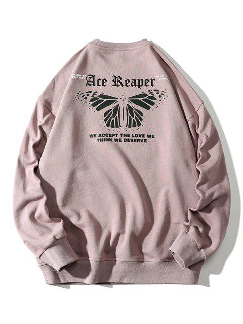 affordable Letter Butterfly Print Rib-knit Trim Sweatshirt - PINK ROSE M Mobile