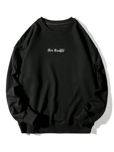 trendy Letter Butterfly Print Rib-knit Trim Sweatshirt - BLACK 4XL Mobile