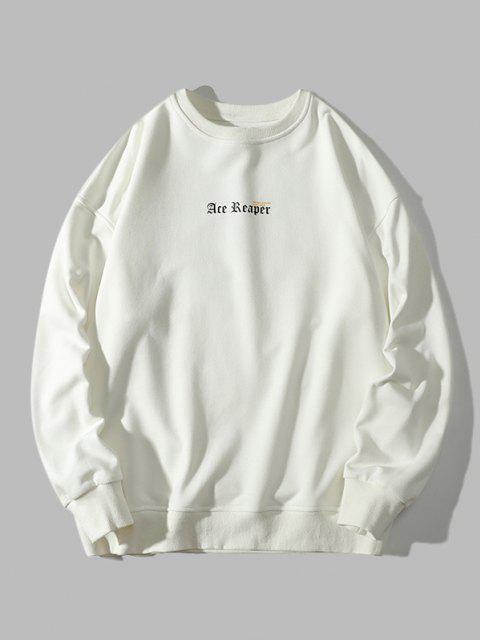 Sweat-shirt Lettre Papillon Imprimé à Ourlet Côtelé - Blanc 4XL Mobile