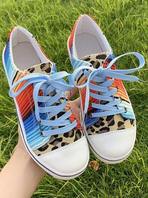 Zapatos Planos de Lona de Rayas de Colores de Leopardo - Leopardo EU 37 Mobile