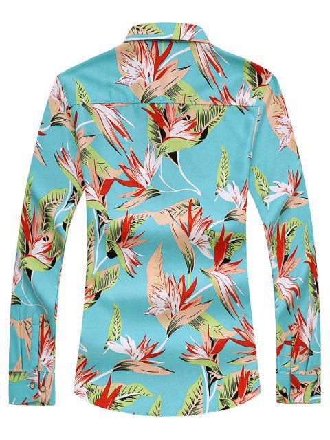 new Leaf Printed Long Sleeves Casual Shirt - LIGHT BLUE XL Mobile