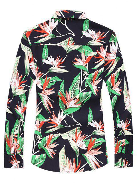 Camisa de Manga Larga de Impresión de Hojas - Cadetblue M Mobile