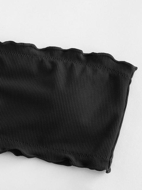 womens ZAFUL Ribbed Lettuce Trim Bandeau Bikini Swimsuit - BLACK S Mobile