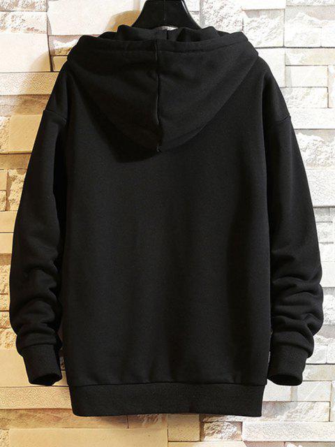 ladies Letter Graphic Casual Drop Shoulder Hoodie - BLACK 2XL Mobile