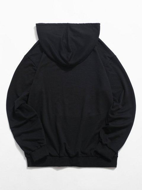 chic Daisy Butterfly Freedom Graphic Hoodie - BLACK S Mobile