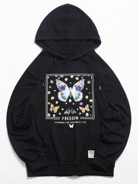Daisy Schmetterlings Reißverschluss Grafik Hoodie - Schwarz M Mobile