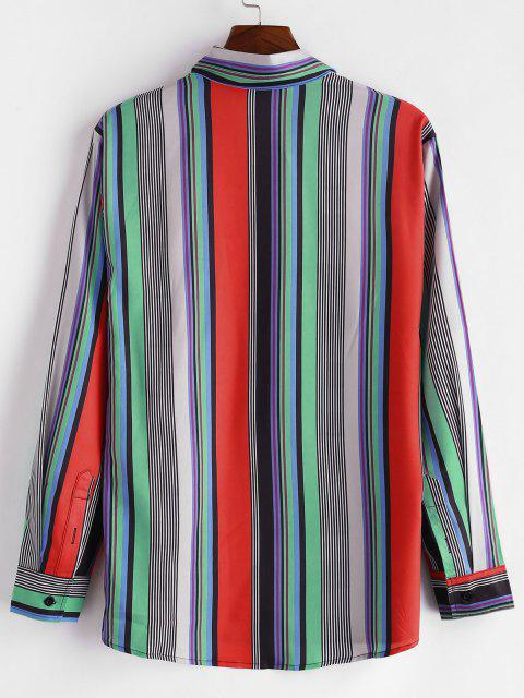 fashion Colorful Stripe Print Button Up Shirt - RED M Mobile