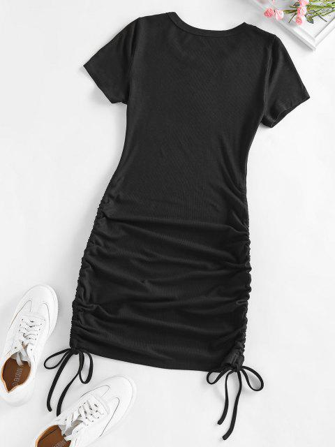 chic ZAFUL Ribbed Cinched Bodycon Mini Dress - BLACK M Mobile
