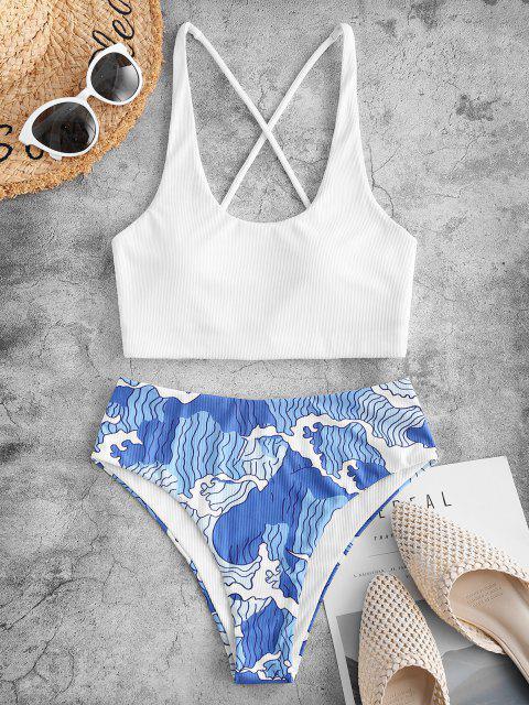 ZAFUL Sea Wave Print Side Boning Ribbed Tankini Swimwear - أبيض 2XL Mobile