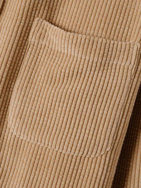 fancy Plain Pocket Patch Corduroy Shirt - LIGHT COFFEE L Mobile