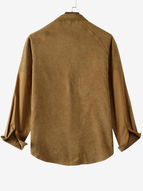 affordable Raglan Sleeve Contrast Patch Pocket Corduroy Shirt - COFFEE L Mobile